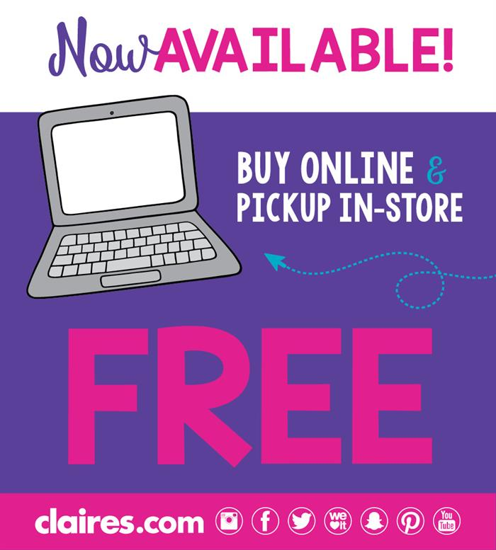 Claire's Buy Online, Pickup in Store