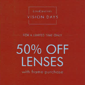 Lenscrafters 50% off Feb.